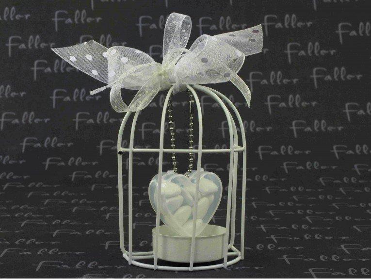 bougeoir cage a oiseau blanche avec boite a dragees. Black Bedroom Furniture Sets. Home Design Ideas